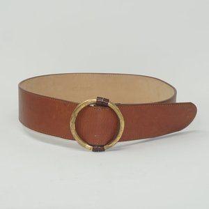 St John Brown Gold Circle Leather Belt